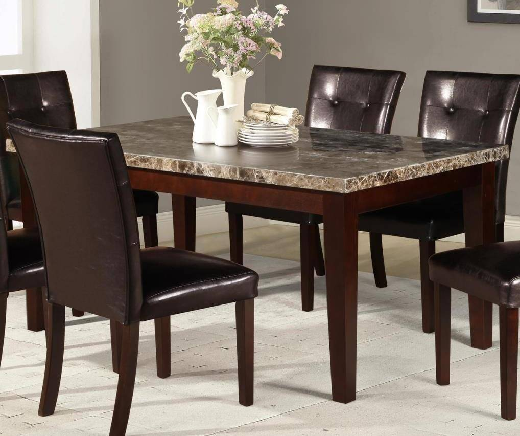 myco furniture crescent modern marble top table brown