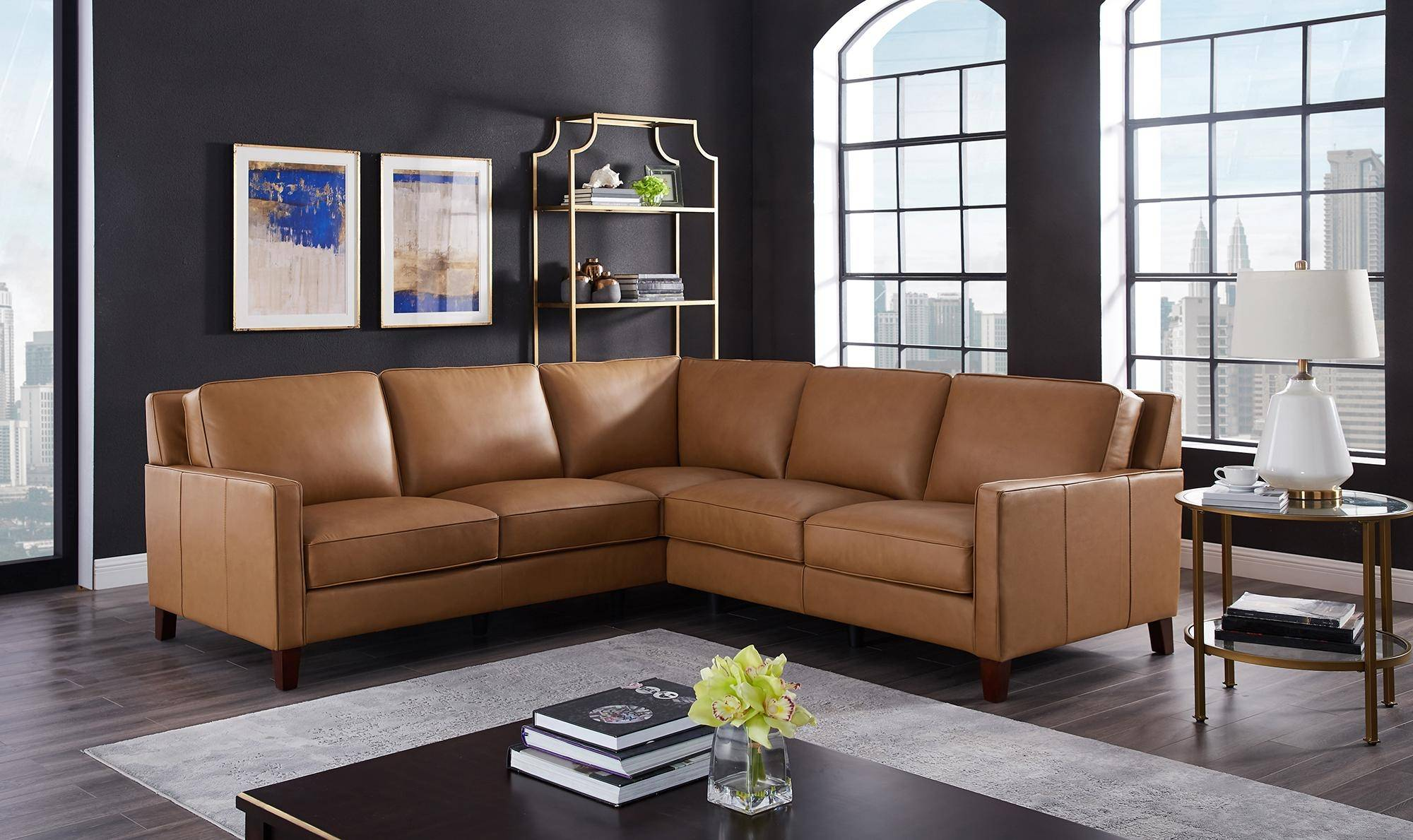 Terrific Cognac Top Grain Leather Sectional San Francisco Hydeline Pabps2019 Chair Design Images Pabps2019Com