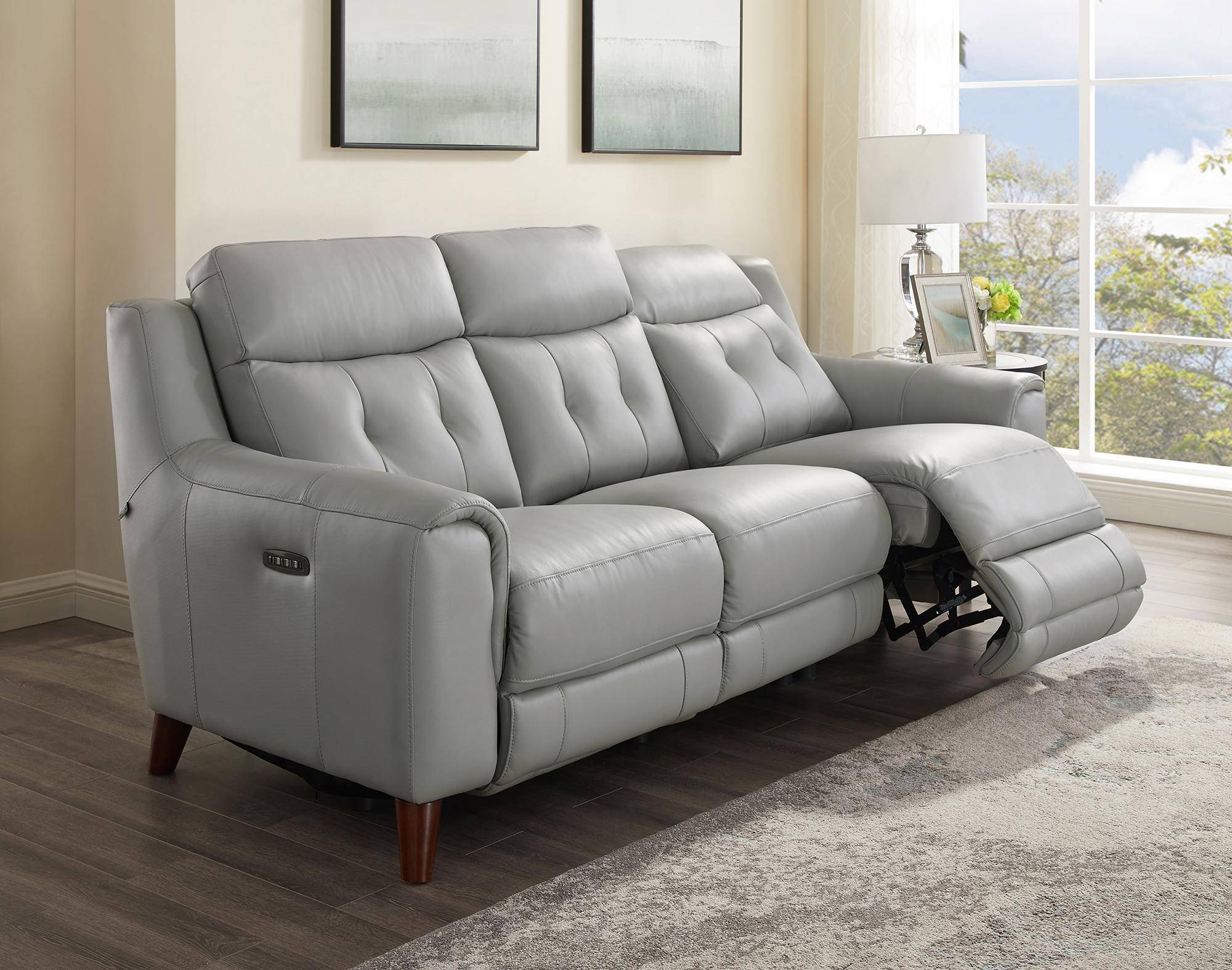 Groovy Silver Gray Genuine Leather Power Reclining Sofa Set 3P Gmtry Best Dining Table And Chair Ideas Images Gmtryco