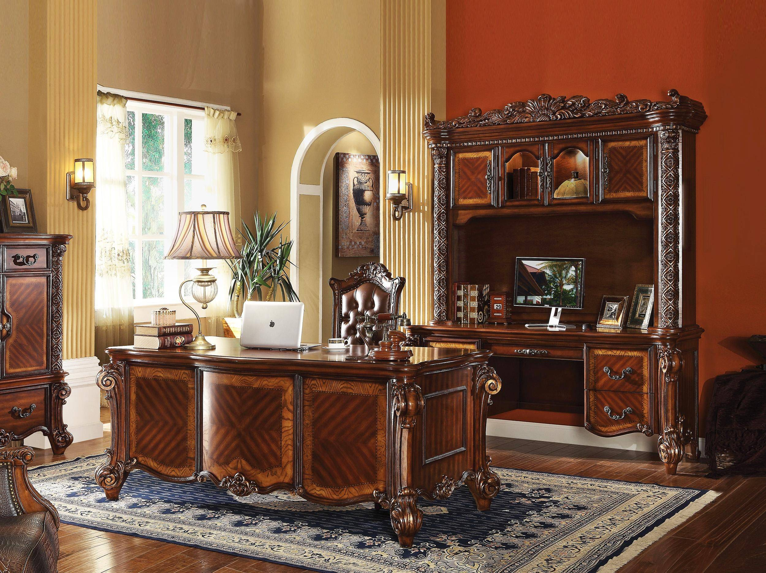 Home Office Furniture Set 3Pcs Cherry Carved Wood Vendome 92125