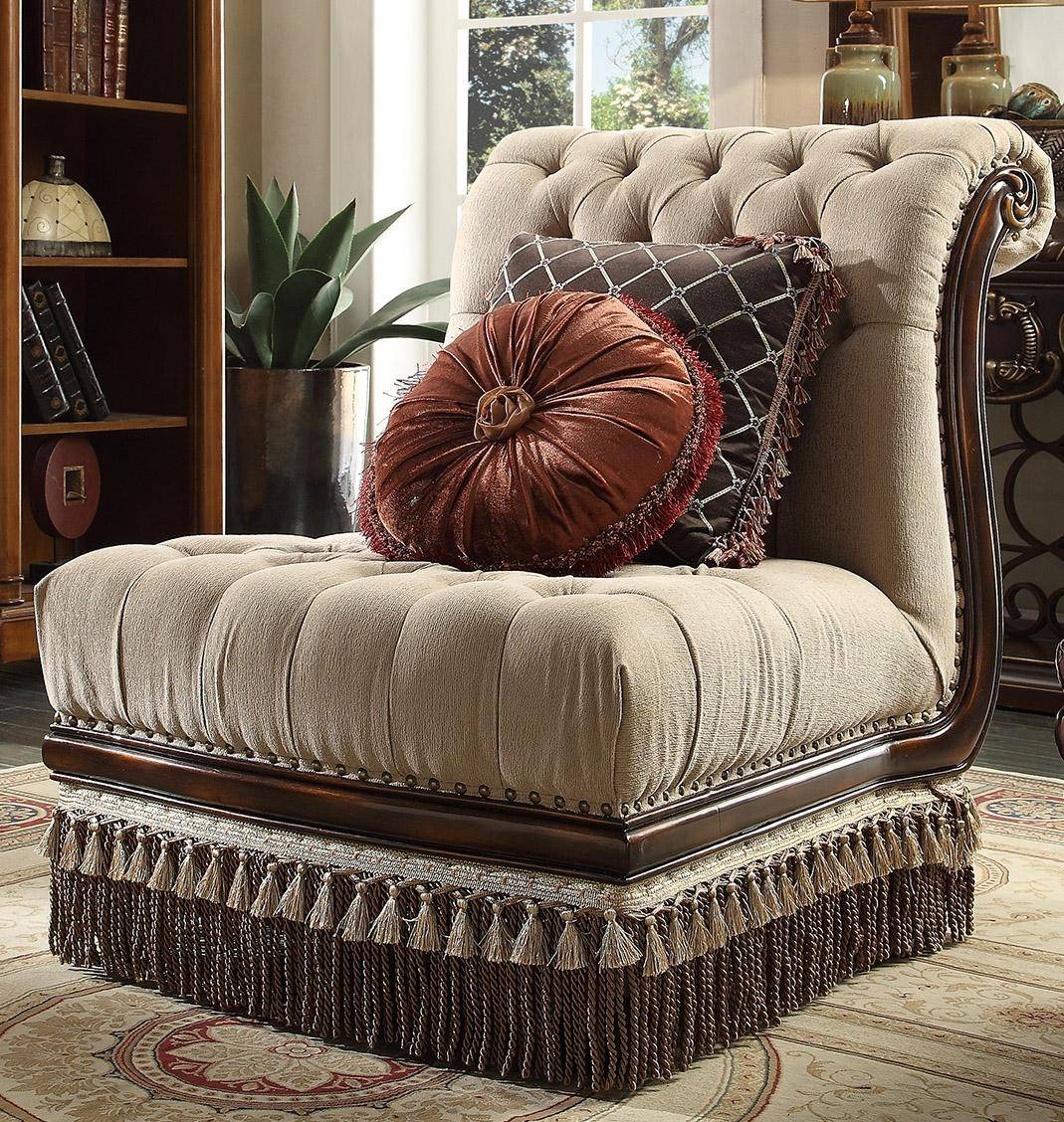 Homey Design HD-1629 Victorian Upholstery Cappuccino ...