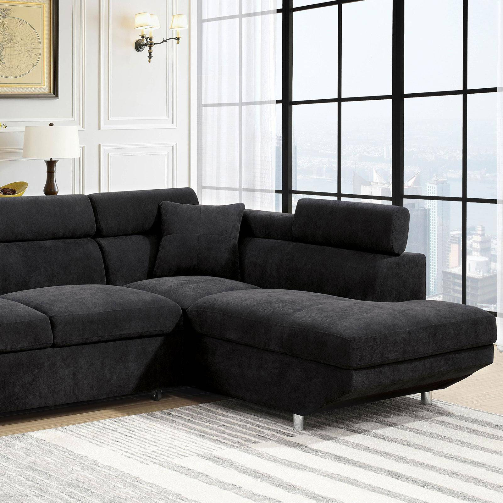 Contemporary Fabric Upholstery Sectional In Black Foreman