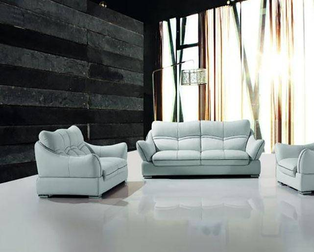 Maxwest P600-OS Modern Light Grey Leather Sofa and Loveseat Set 2 ...
