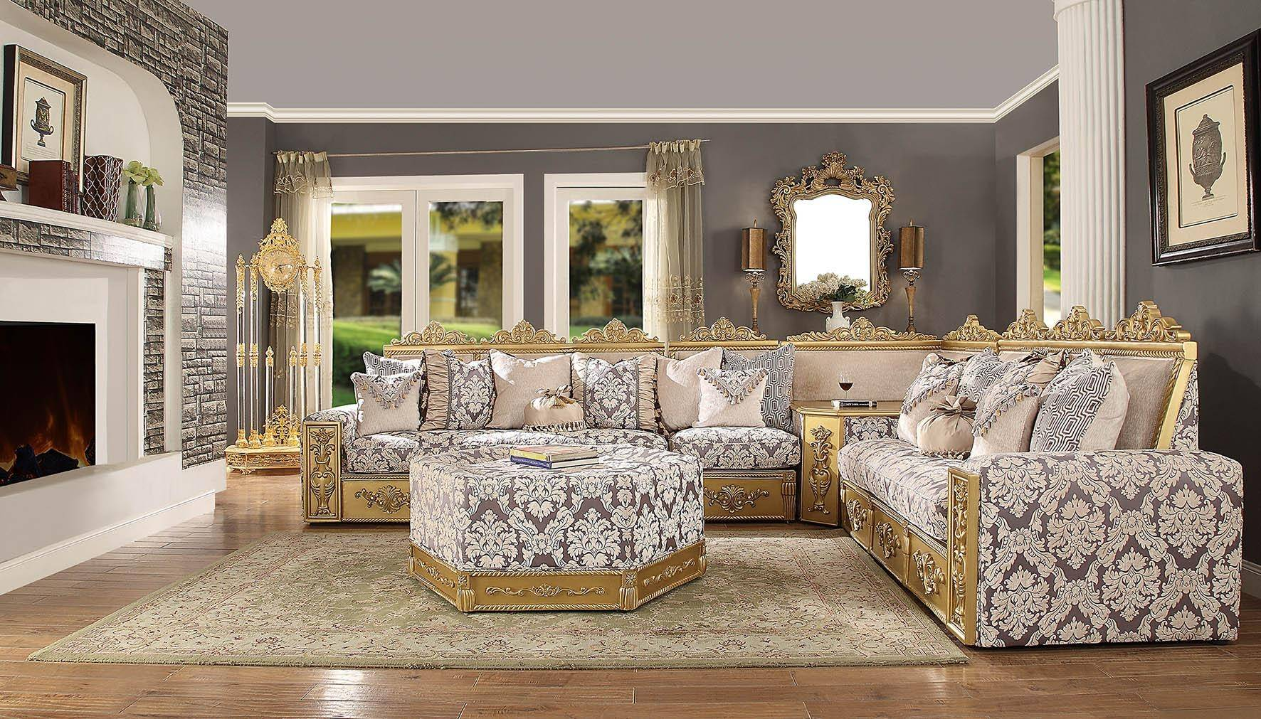 Homey Design Hd 459 Victorian Sophisticated Print Upholstery Antique Gold Carved Wood Sectional Sofa And