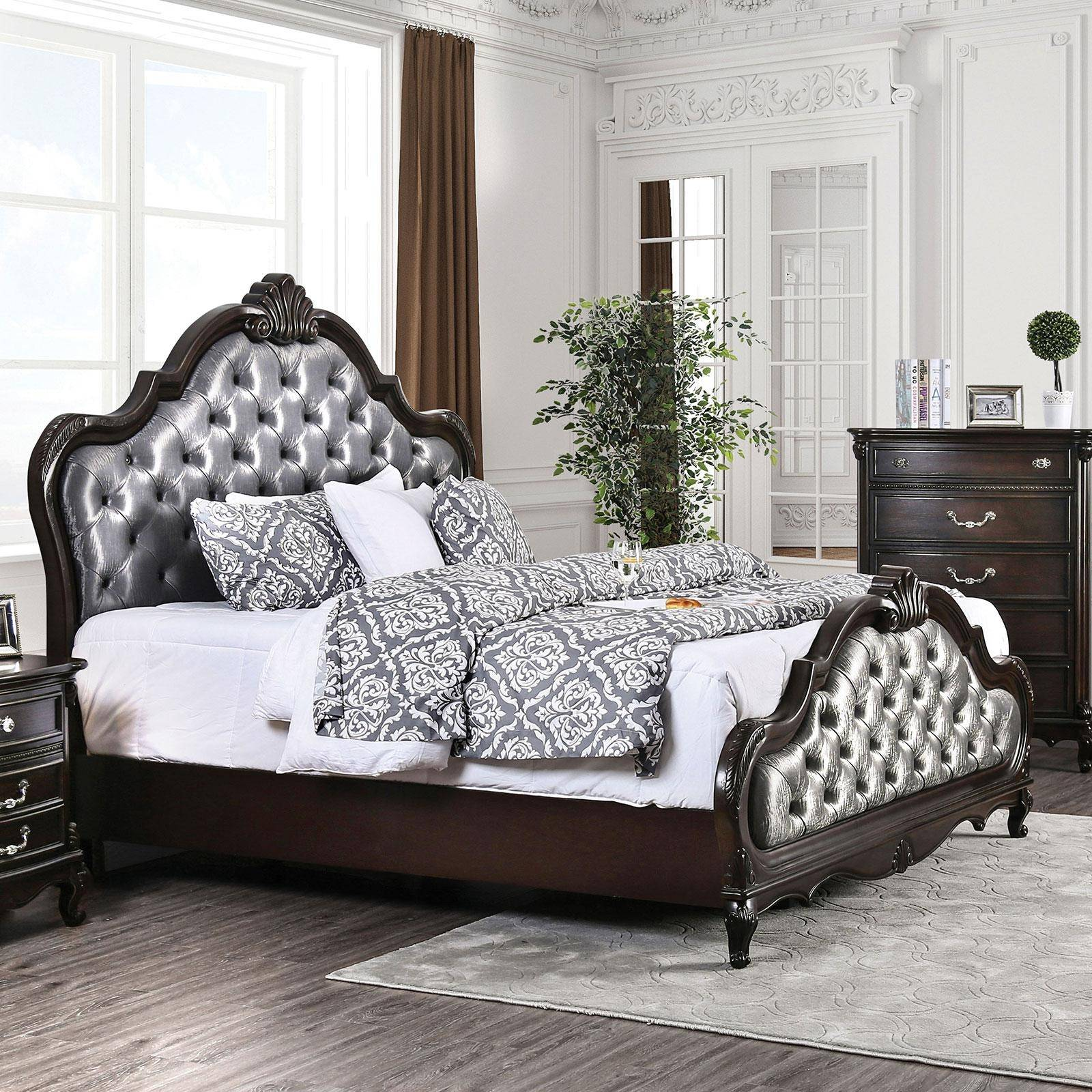 Transitional Brown Upholstered Cal King Panel Bed Bethesda Foa Group Cm7426ck Bed