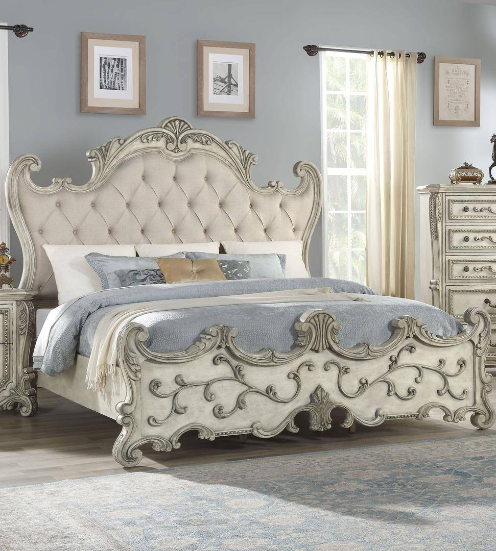 Luxury Wood King Bed Antique White Fabric 27177ek Braylee Acme Furniture Braylee 27177ek