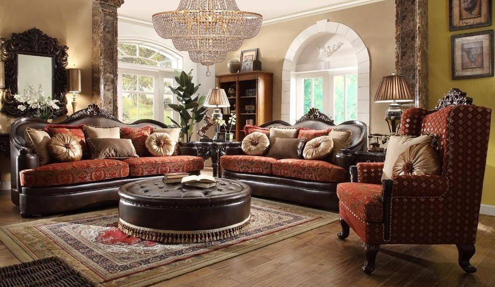 Homey Design Hd 6903 Victorian Luxury Rich Brown Leather Red Mixed Fabric Living Room Sofa Set 3pcs Hd 6903 Slc 3pcs