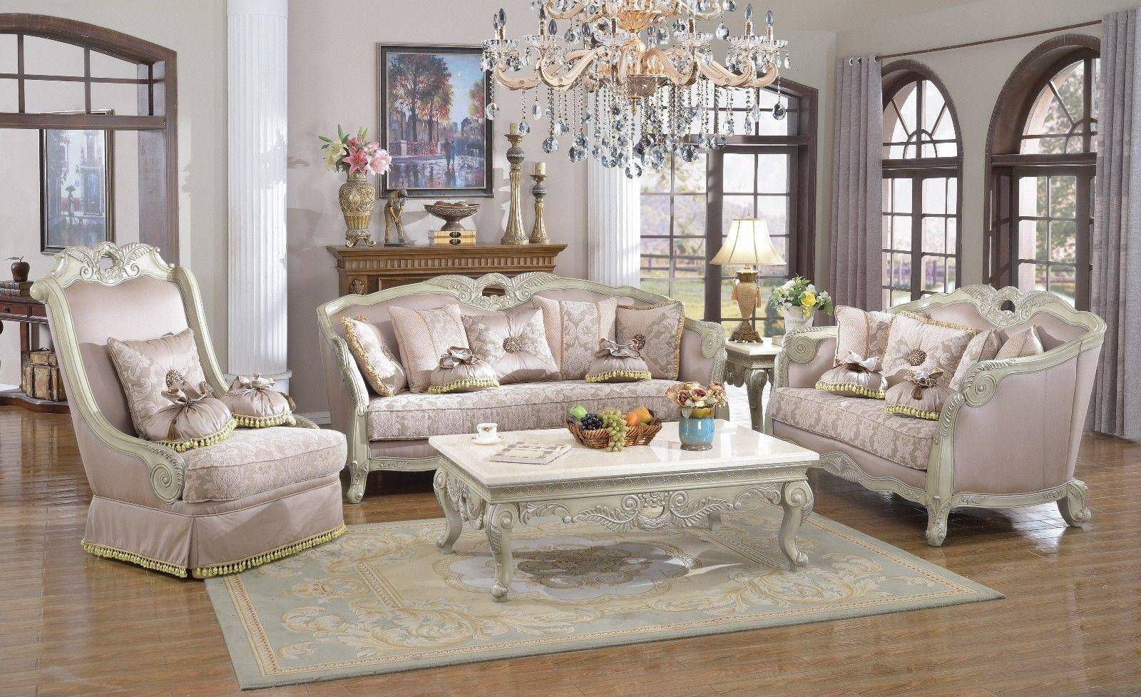 Meridian 621 Positano Living Room Set 3pcs in Antique White ...