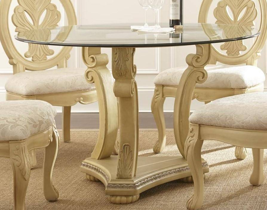myco furniture emily modern glass top table champagne finish dining rh nyfurnitureoutlets com