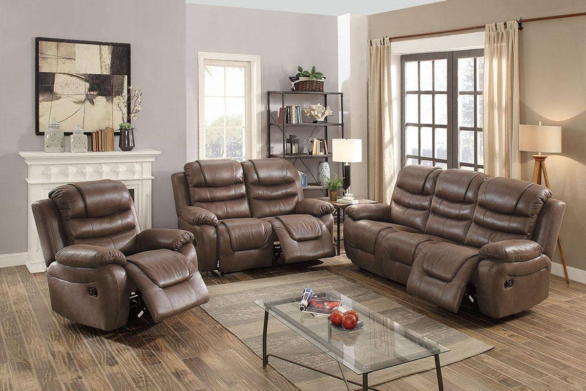 Gray Breathable Leatherette Motion Loveseat F6756 Poundex Modern