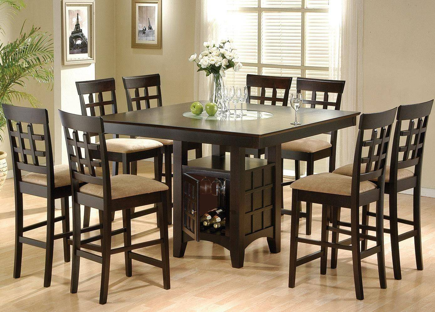 coaster® 9pc square counter height dining table set with