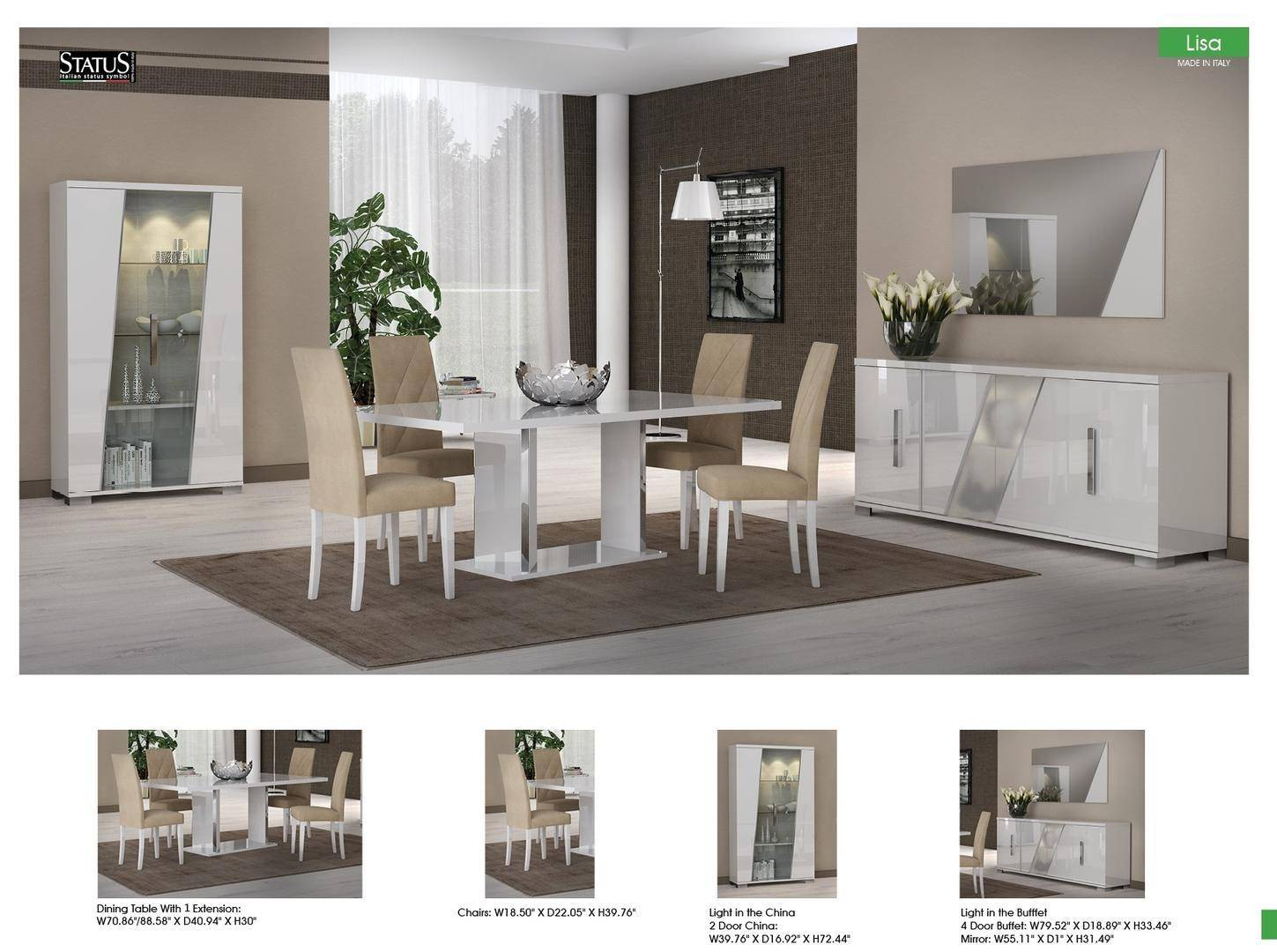 Esf Lisa Glossy White Dining Room Set 8 Pcs Made In Italy Contemporary Modern Reviews