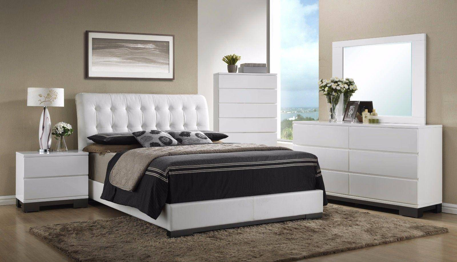 Crown Mark RB4850 Avery Modern White Finish Leatherette King Size Bedroom  Set 3Pcs