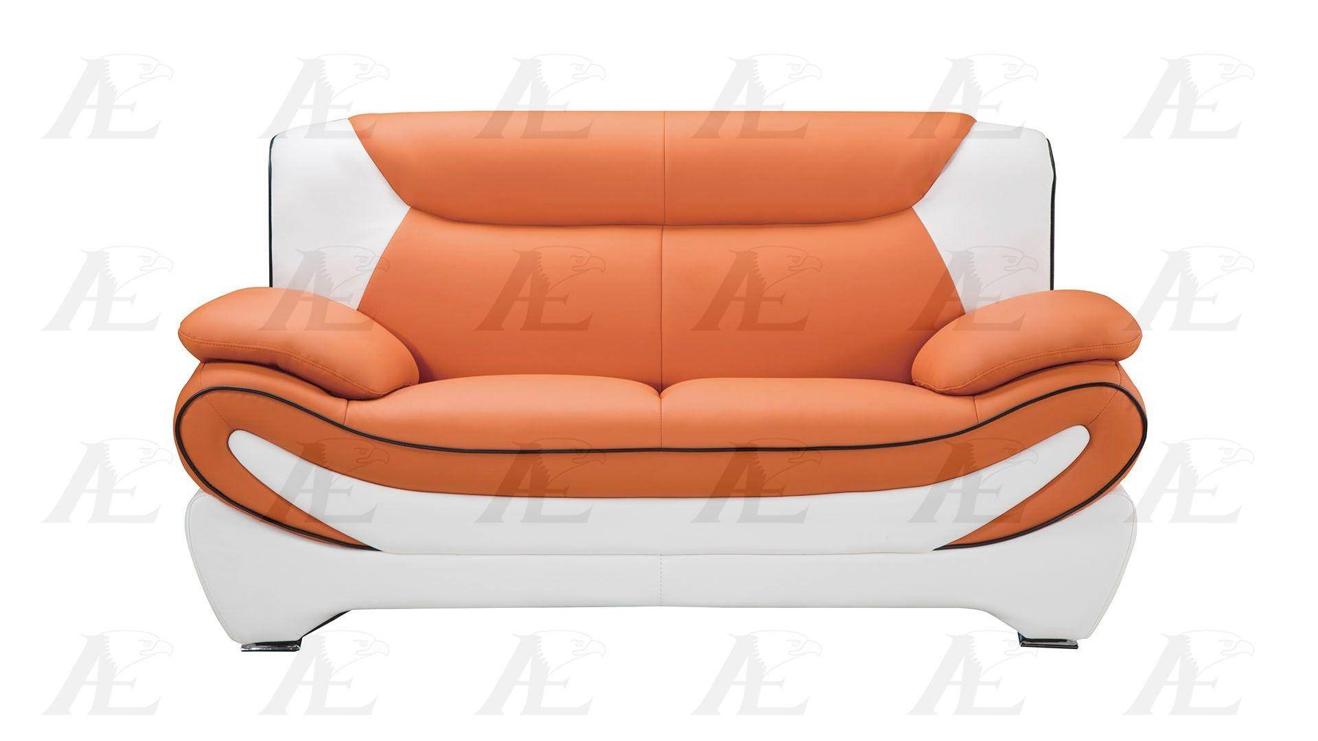 Orange And White Faux Leather Sofa And 2 Loveseats