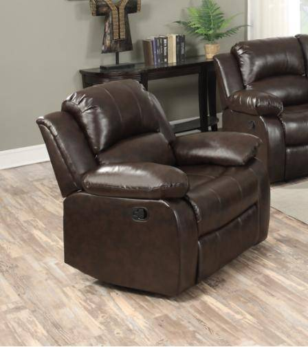 Happy Homes 10100 Modern Brown Bonded Leather Recliner Sofa Set 3Pcs
