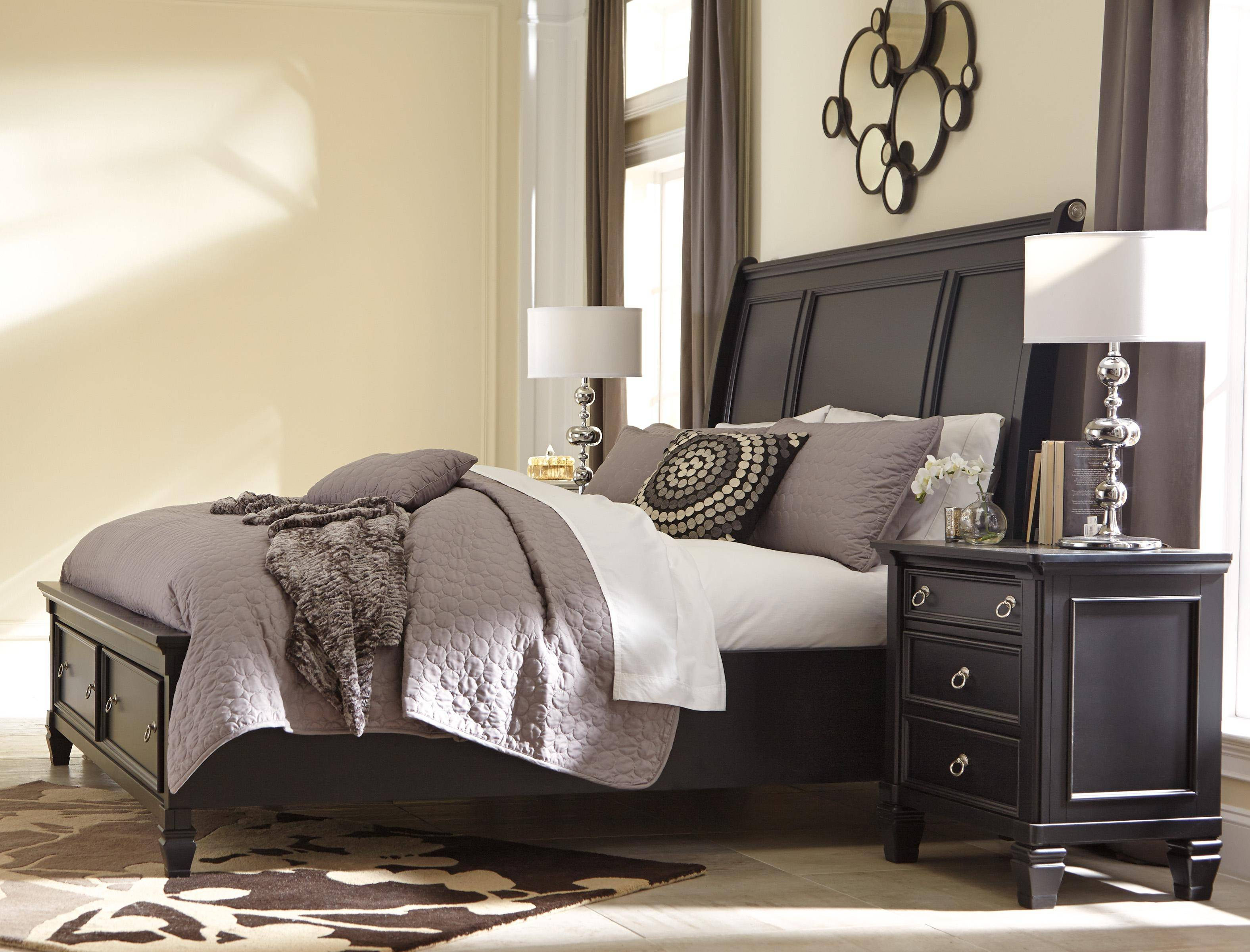 Ashley Greensburg B671 King Size Sleigh Bedroom Set 3pcs In Black B671 78 76 99 93 2 Buy Online