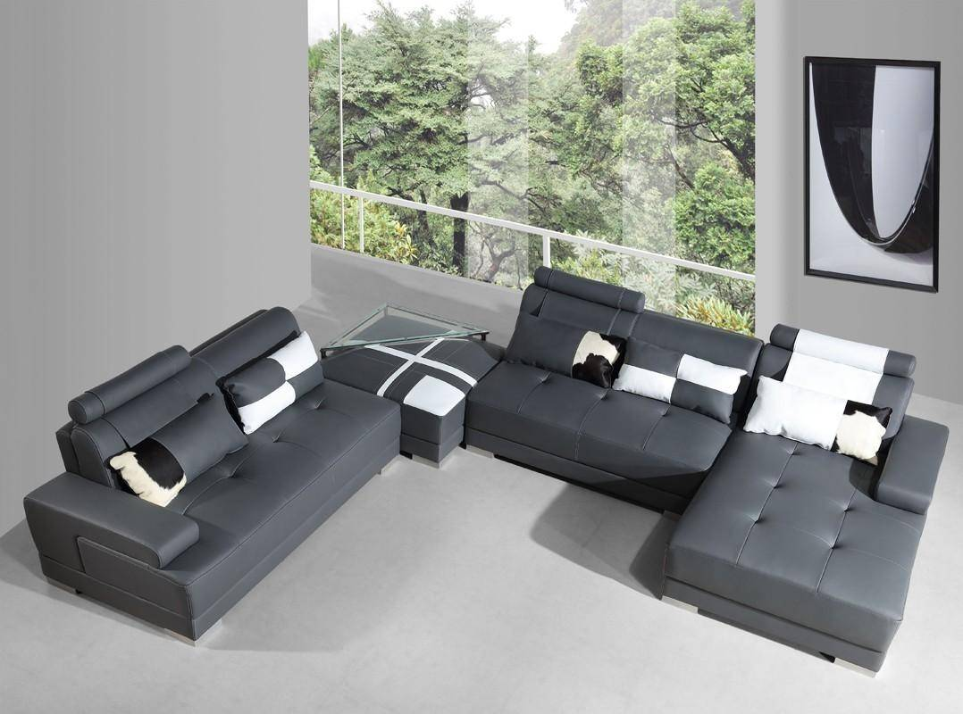 Admirable Grey Faux Leather Sectional Sofa Ottoman End Table Set 4 Vig Gamerscity Chair Design For Home Gamerscityorg