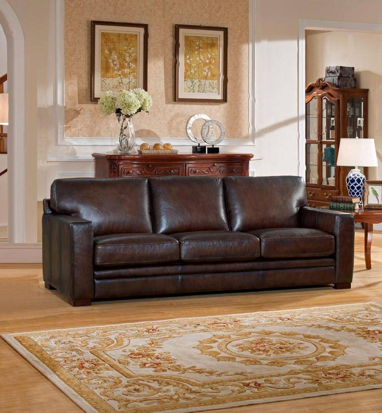Luxury Brown Top Grain Leather Sofa Loveseat Set 2Pcs Amax ...