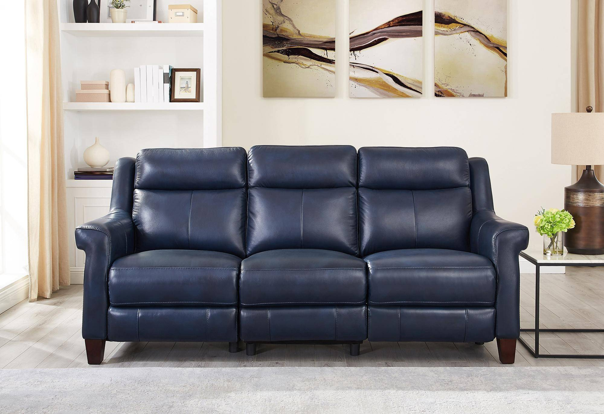 Awesome Chatham Blue Genuine Leather Power Reclining Sofa Chair Set Machost Co Dining Chair Design Ideas Machostcouk