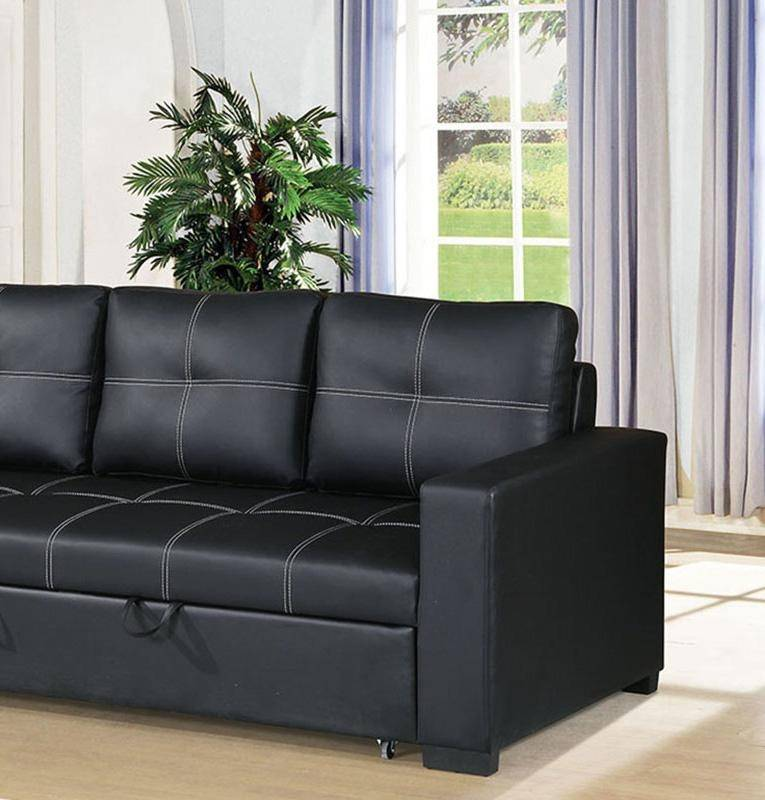 Black Fuax Leather Convertible Sofa F6530 Poundex Modern Contemporary
