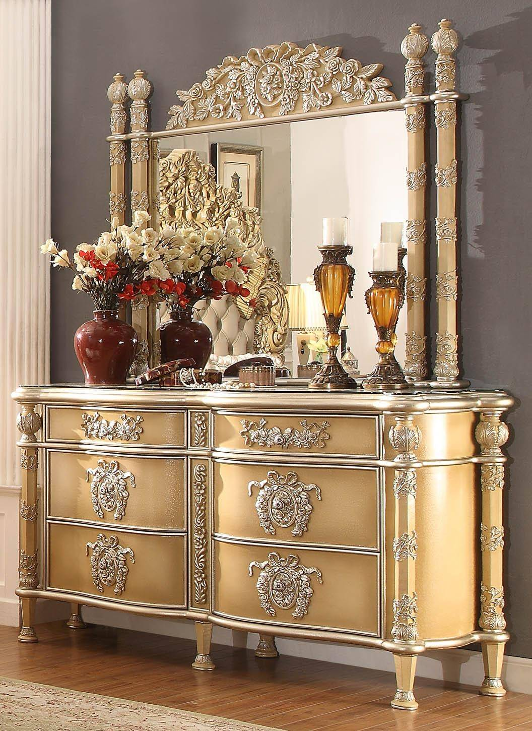 Homey Design Hd 5801 Luxury Ivory Antique Gold Tufted
