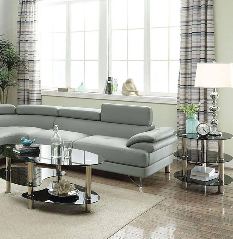 Gray Faux Leather Sectional Sofa F6984 Poundex Contemporary Modern
