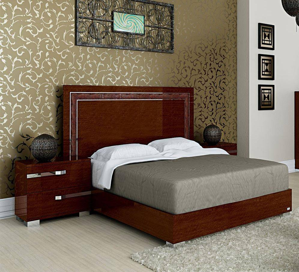 Furniture Stores Usa: At Home USA Volare Glossy Walnut Queen Bedroom Set 3Pcs