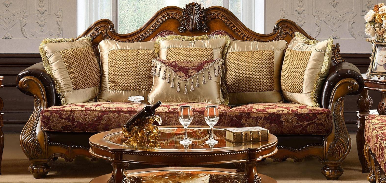 Awesome Homey Design Hd 481 Antique Gold Burgundy Chenille Fabric Unemploymentrelief Wooden Chair Designs For Living Room Unemploymentrelieforg