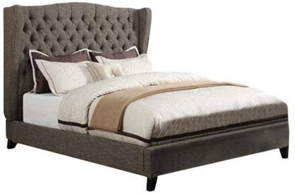 Chocolate Linen Upholstered King Size Bed With Bench Acme