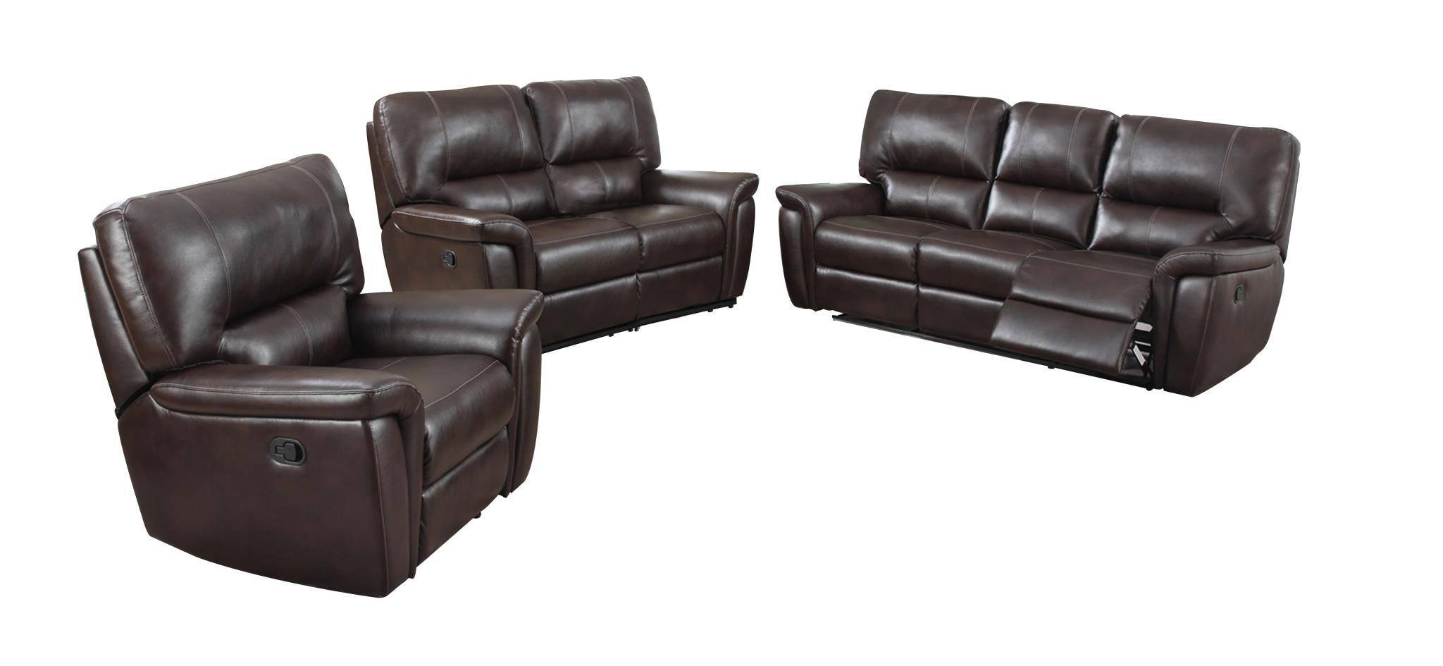 MYCO Furniture Galaxy Burgundy Leather Air Reclining Power Sofa Set 2Pcs  Modern