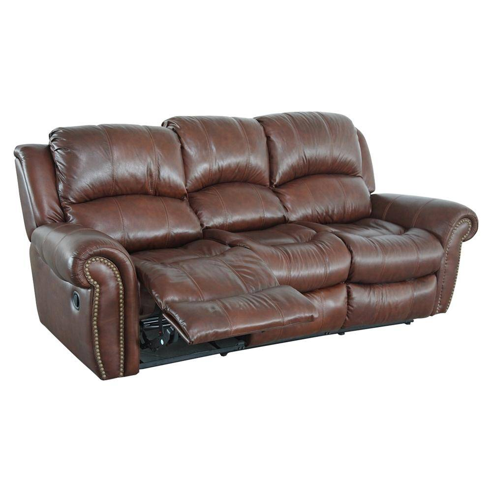 MYCO Furniture Gretna Brown Modern Leather Power Reclining Sofa ...