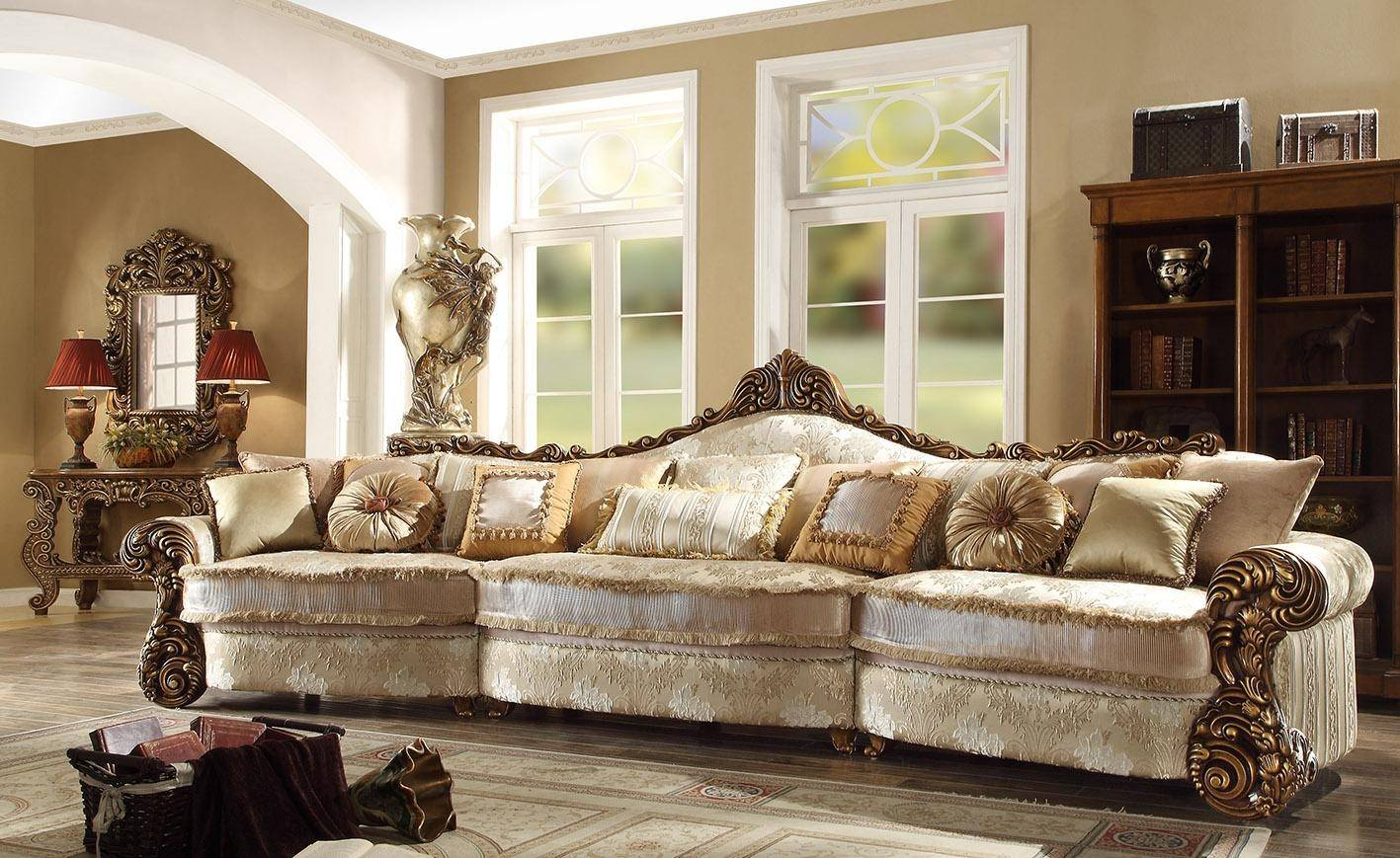 Homey Design HD 1608 Victorian Style Gold Pearl Sectional Sofa Reviews  HD 1608