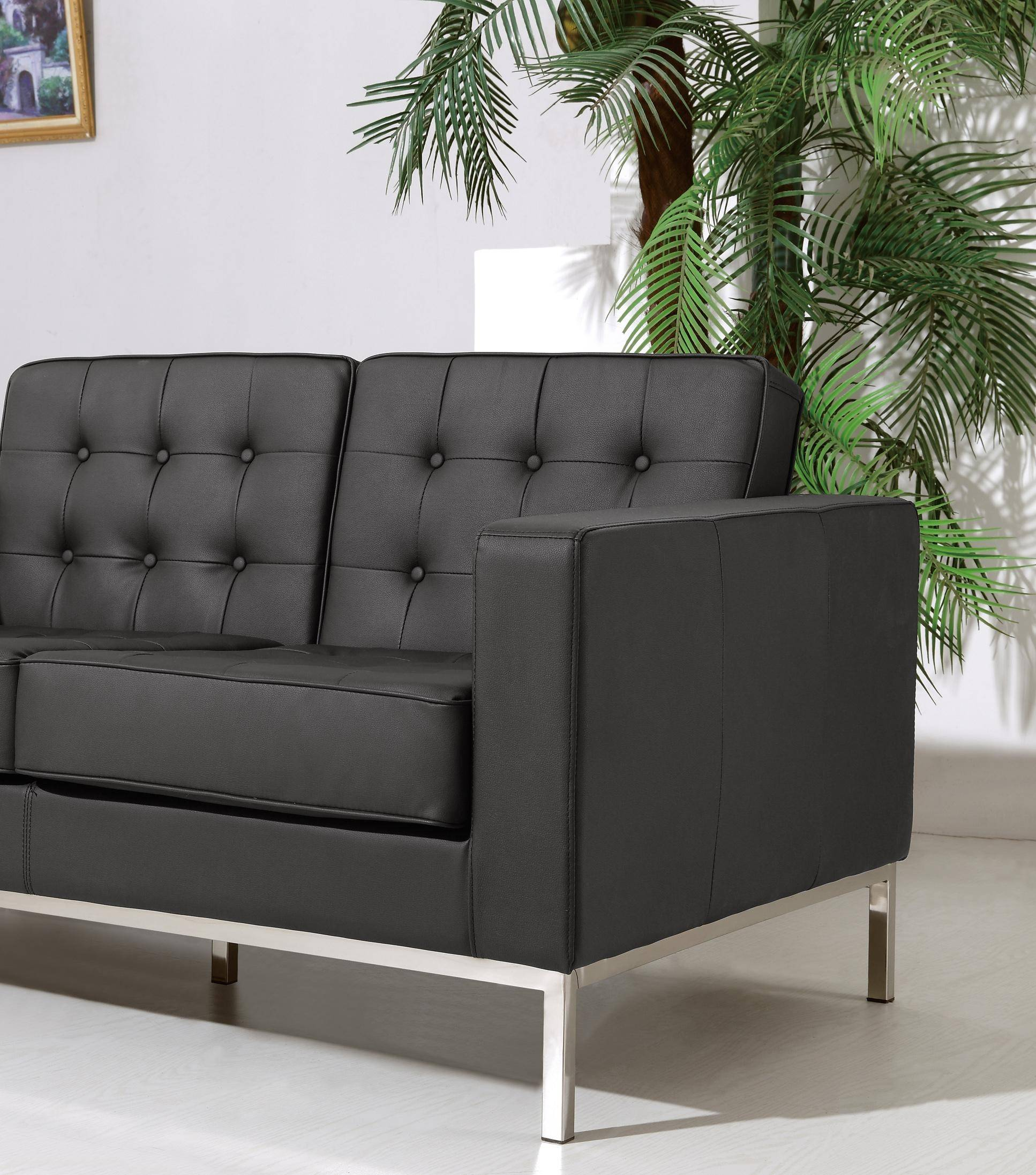 Surprising At Home Usa Silvania Genuine Rich Black Leather Tufted Loveseat Contemporary Short Links Chair Design For Home Short Linksinfo