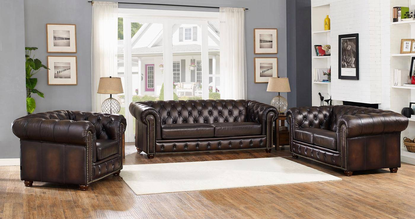 Amax Leather Albany Brown Genuine Leather Sofa Set 3Pcs Hand ...