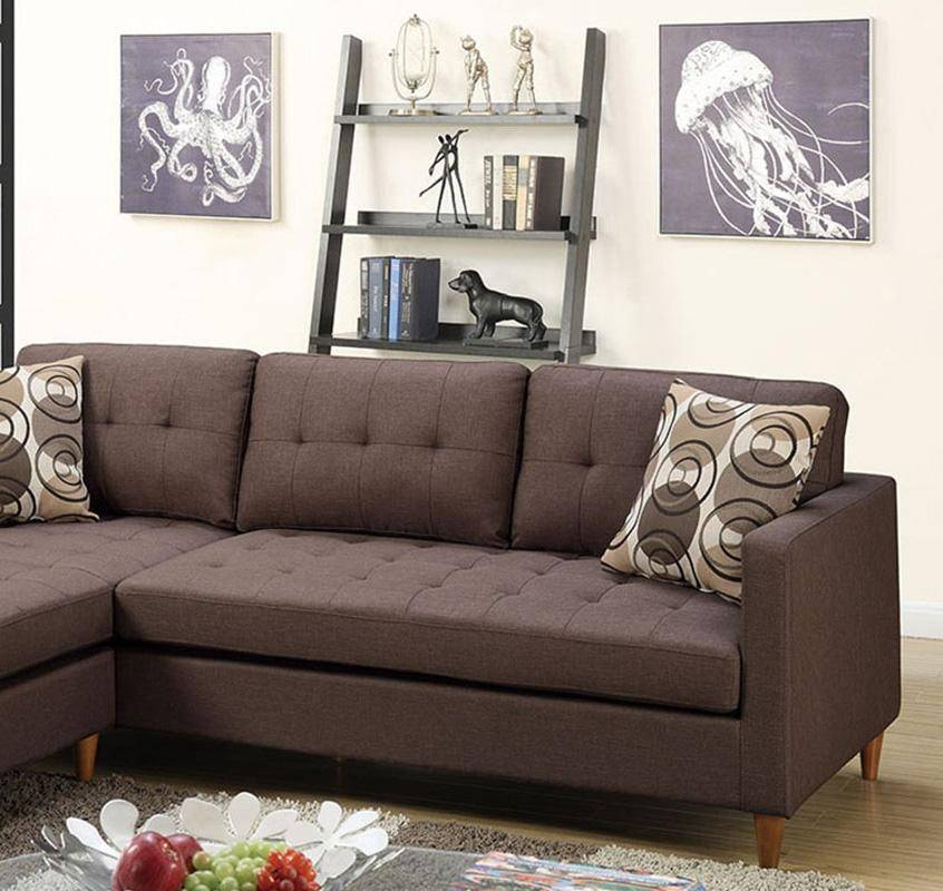 Brown Fabric Sectional Sofa F7086 Poundex Modern Contemporary