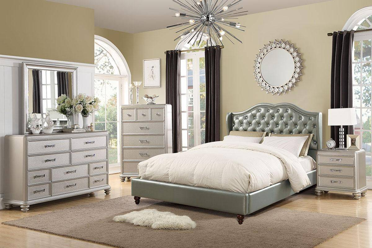 Contemporary Gray Faux Leather Upholstered Calif King Bed F9367 Poundex F9367ck