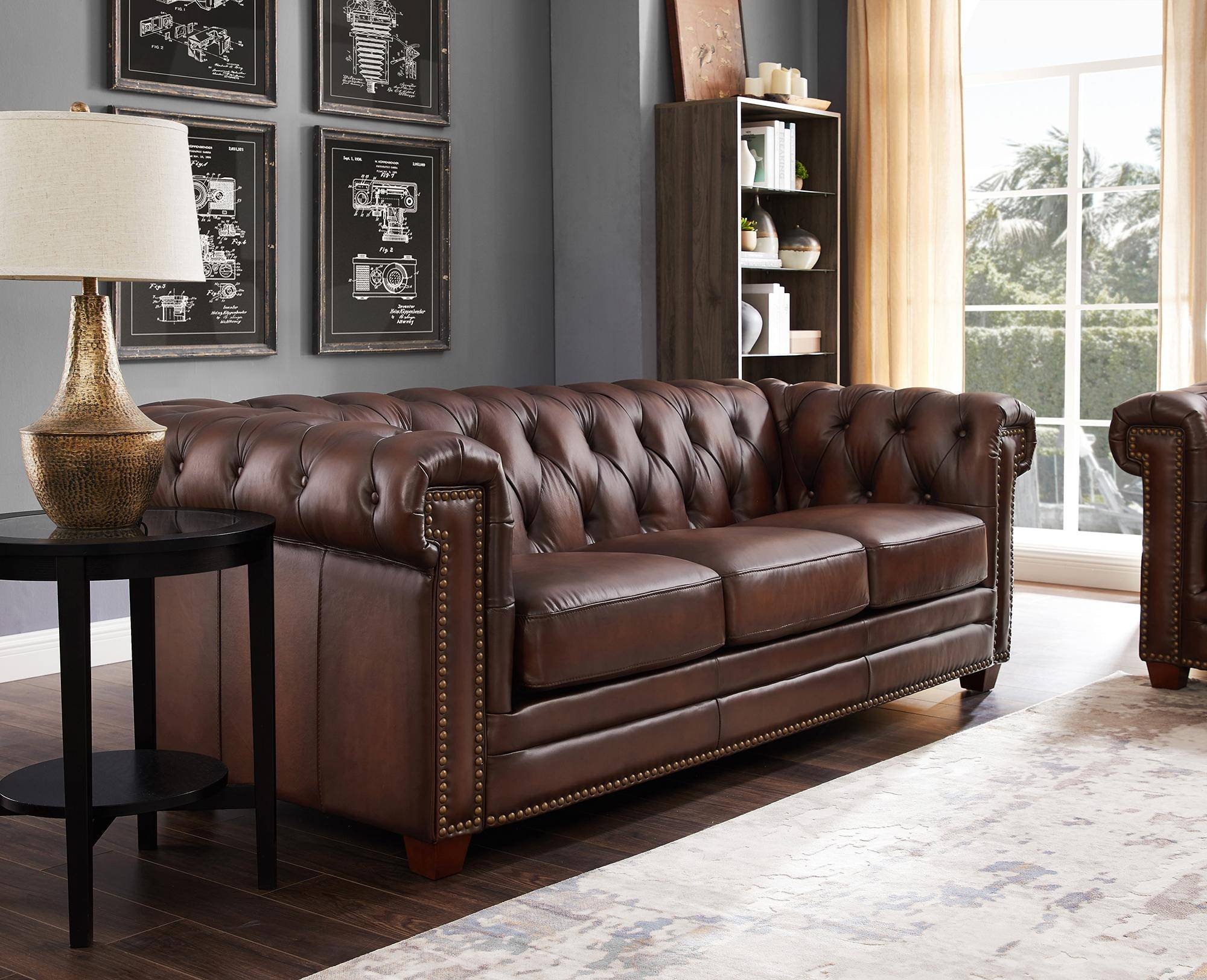 Dark Brown STANWOOD Genuine Leather Sofa HYDELINE ...