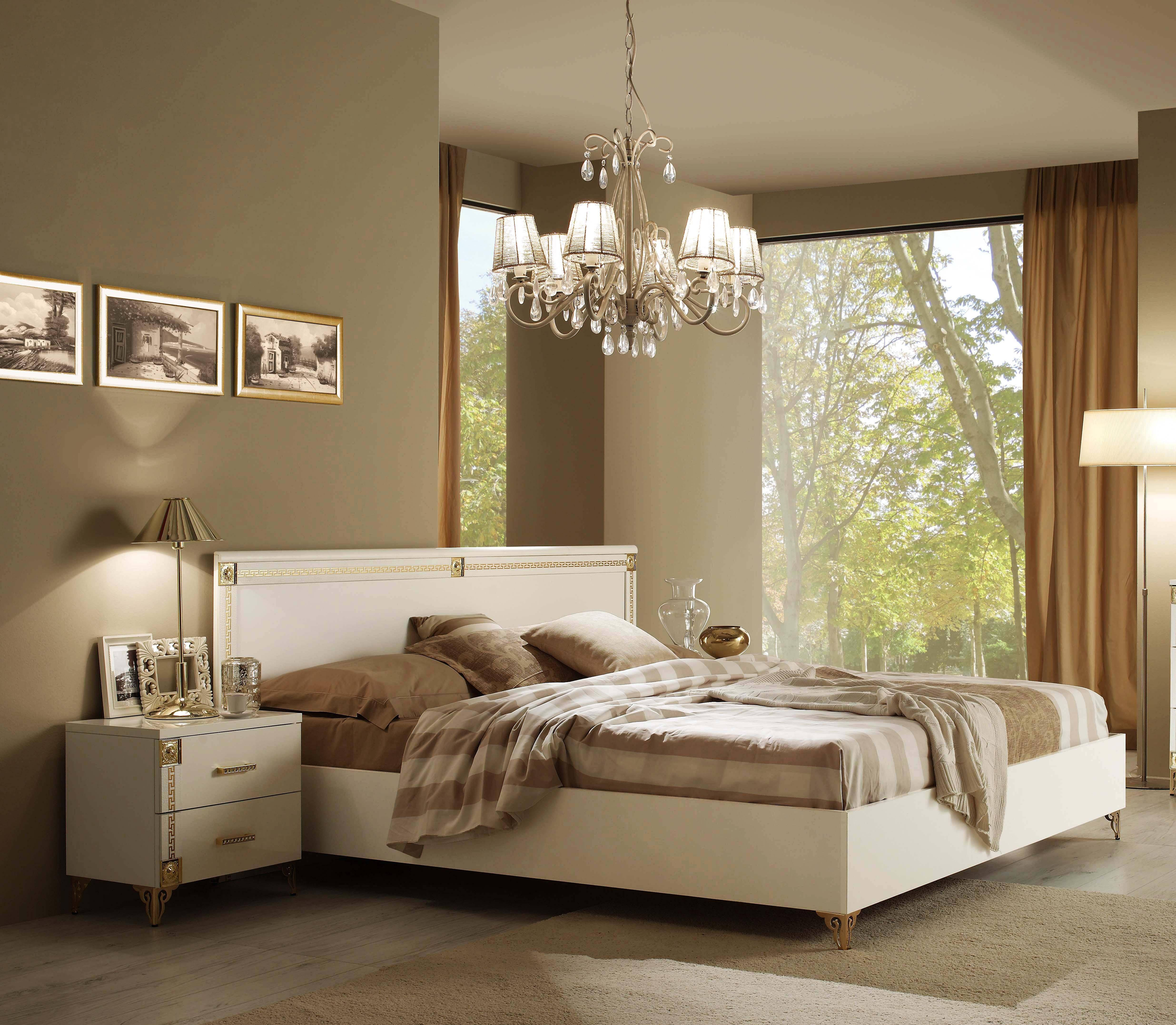 ESF Venice Luxury White Gold Queen Bedroom Set 3Pcs Contemporary Made In  Italy