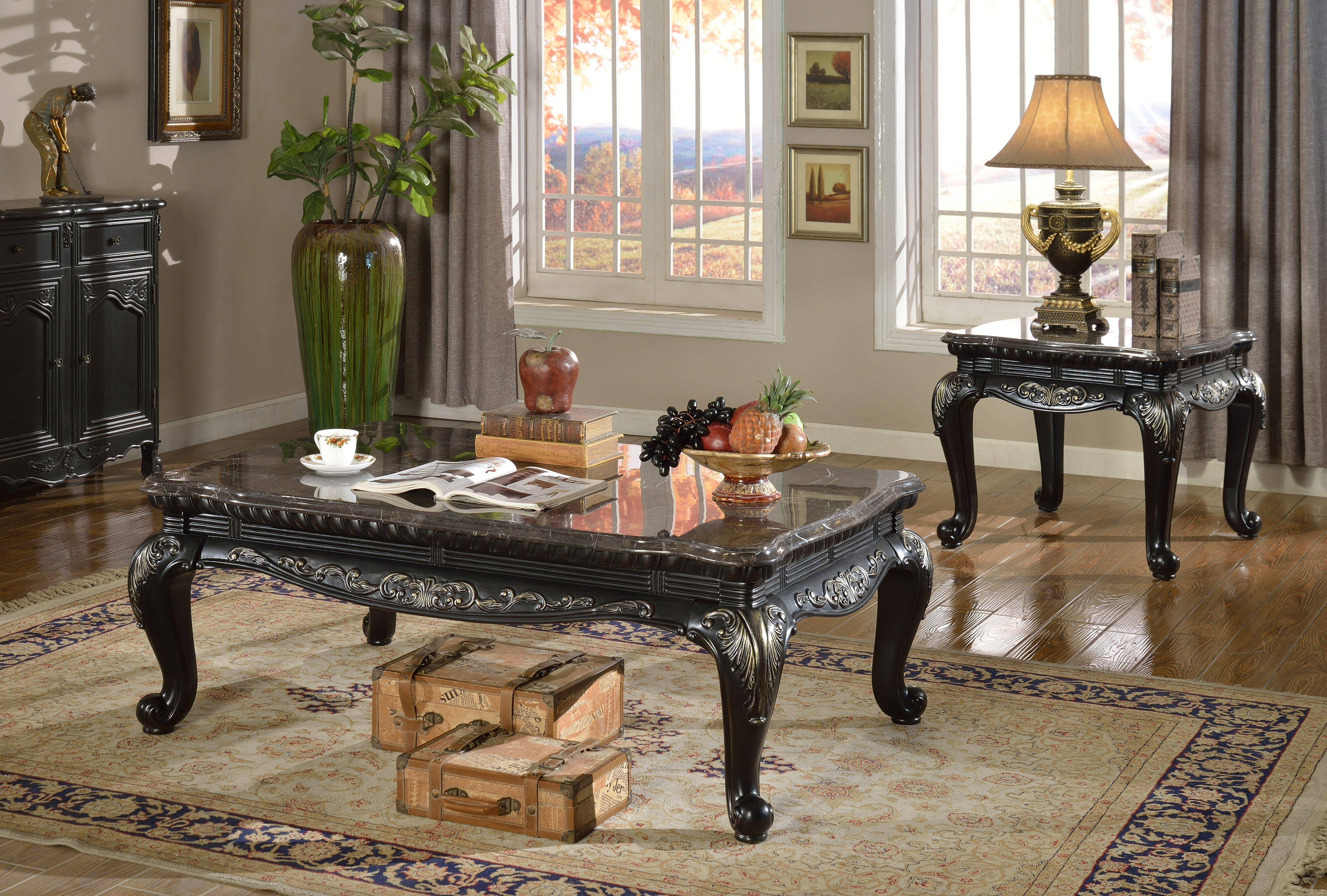 Meridian Furniture 218 Florence Black Marble Top Coffee End Tables Set Table Traditional Reviews