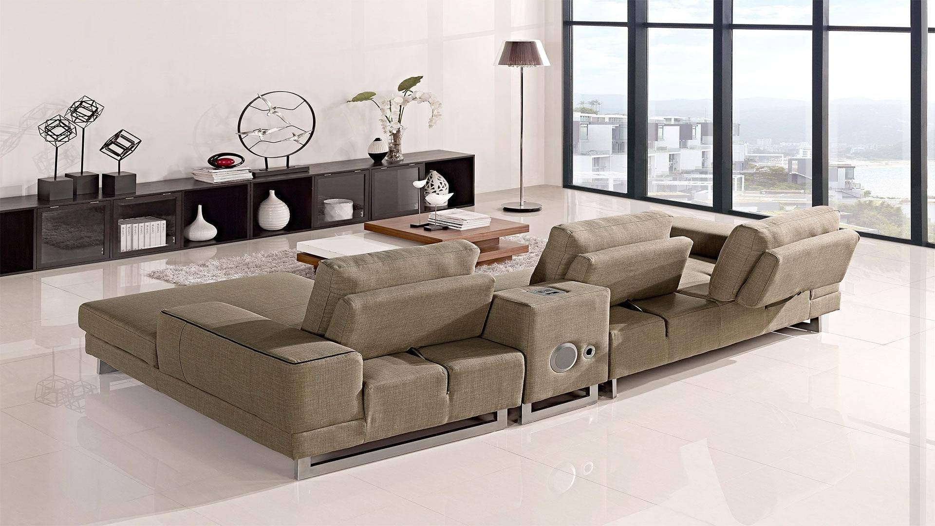 Pleasing At Home Usa Adele Ultra Modern Beige Fabric Sectional Sofa Ncnpc Chair Design For Home Ncnpcorg