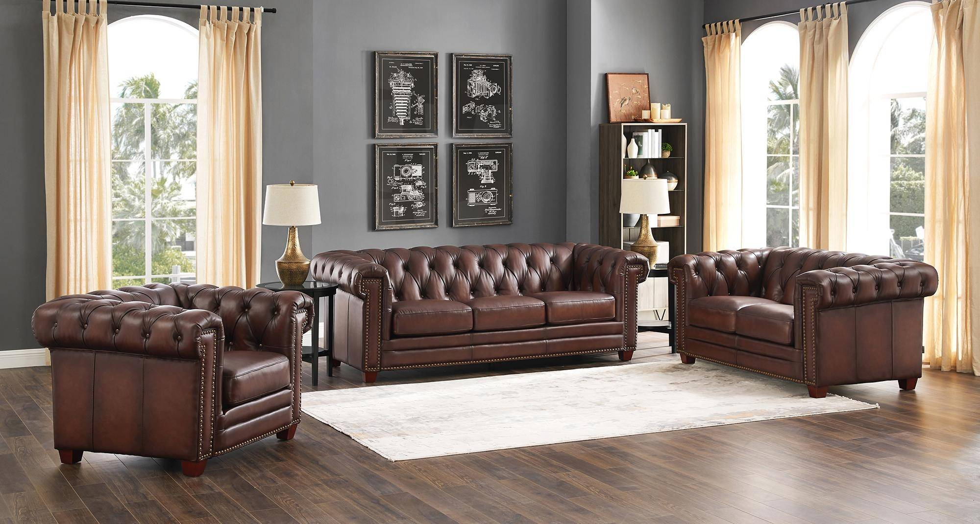 Dark Brown STANWOOD Genuine Leather Sofa HYDELINE® Traditional ...