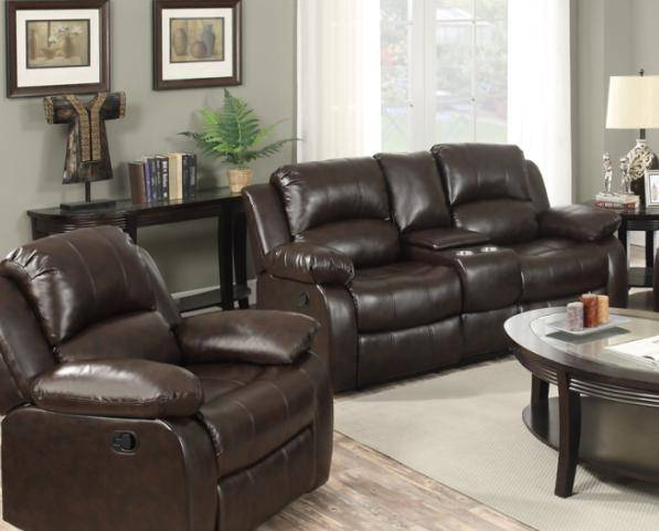 Happy Homes 10100 Modern Brown Bonded Leather Recliner Sofa Set 2Pcs