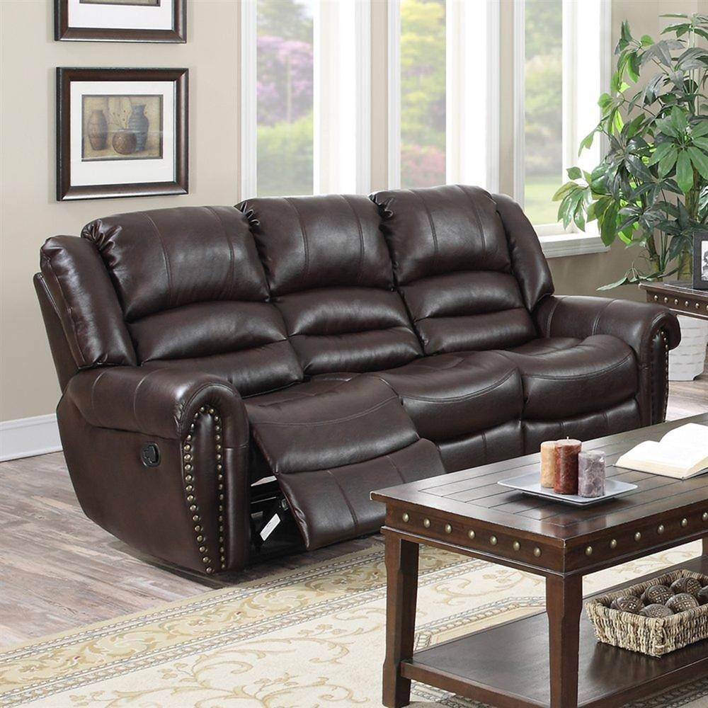 MYCO Furniture Abbie Burgundy Leather Nailhead Air Reclining Power Sofa Set  2Pcs Modern