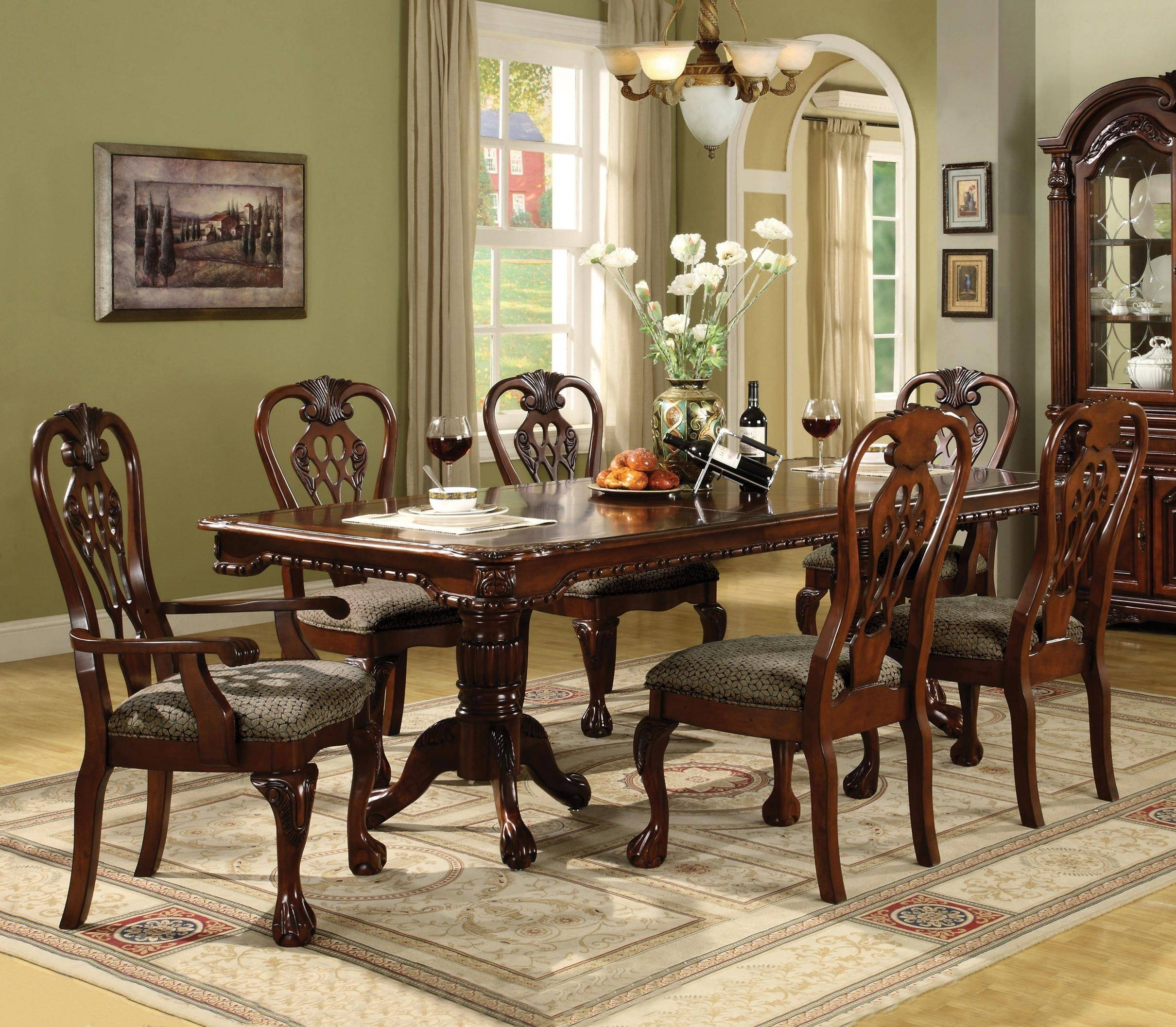 Crown Mark 7 Pc Brunswick Formal Dining Room Set, Includes