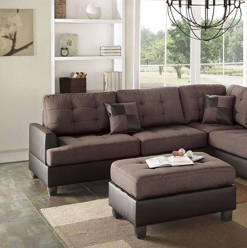 Brown Faux Leather Sectional Sofa Set 2-Pcs F6857 Poundex Modern
