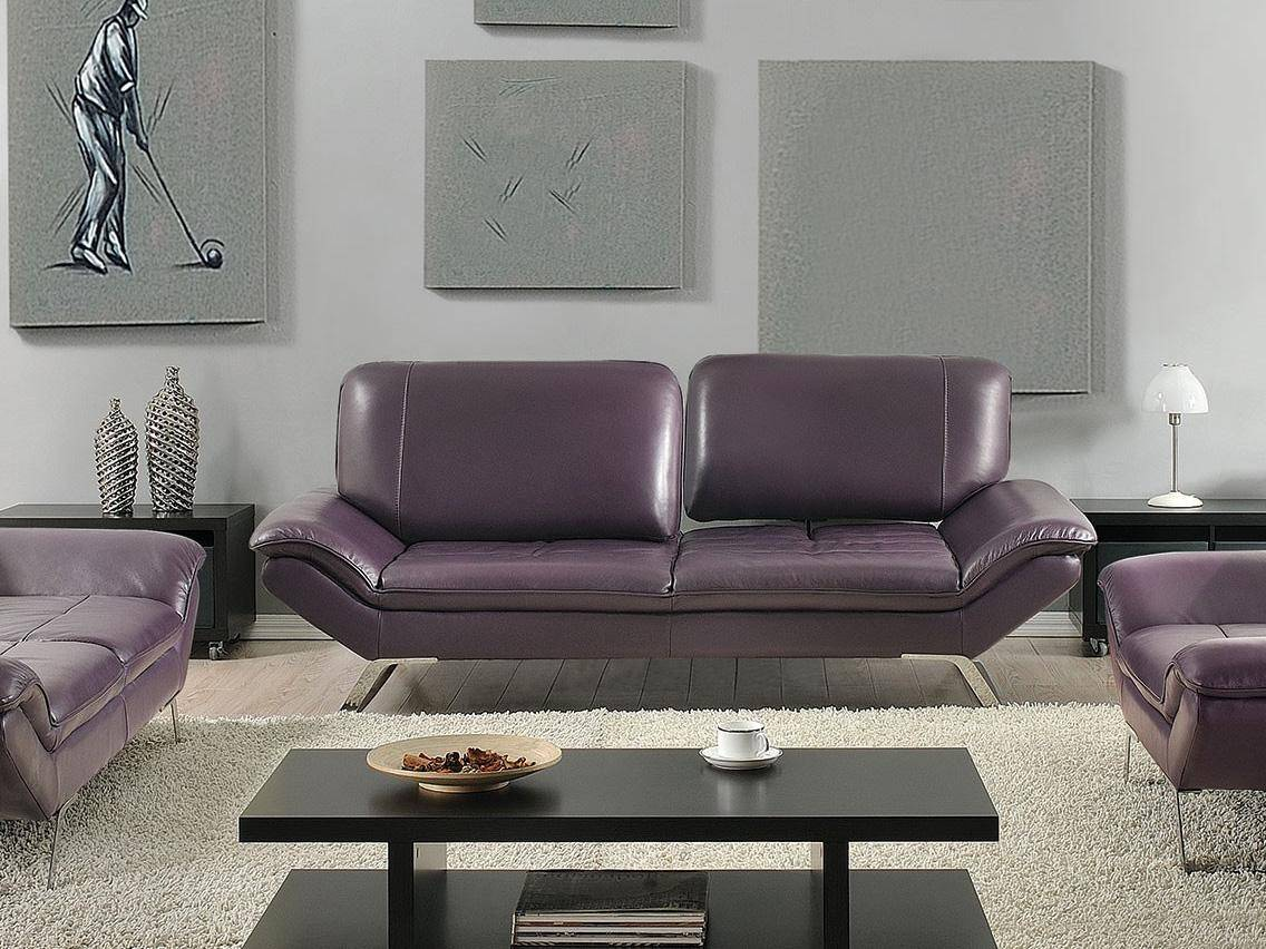 At Home USA Roxi Eggplant Full Italian Leather Sofa Contemporary ...