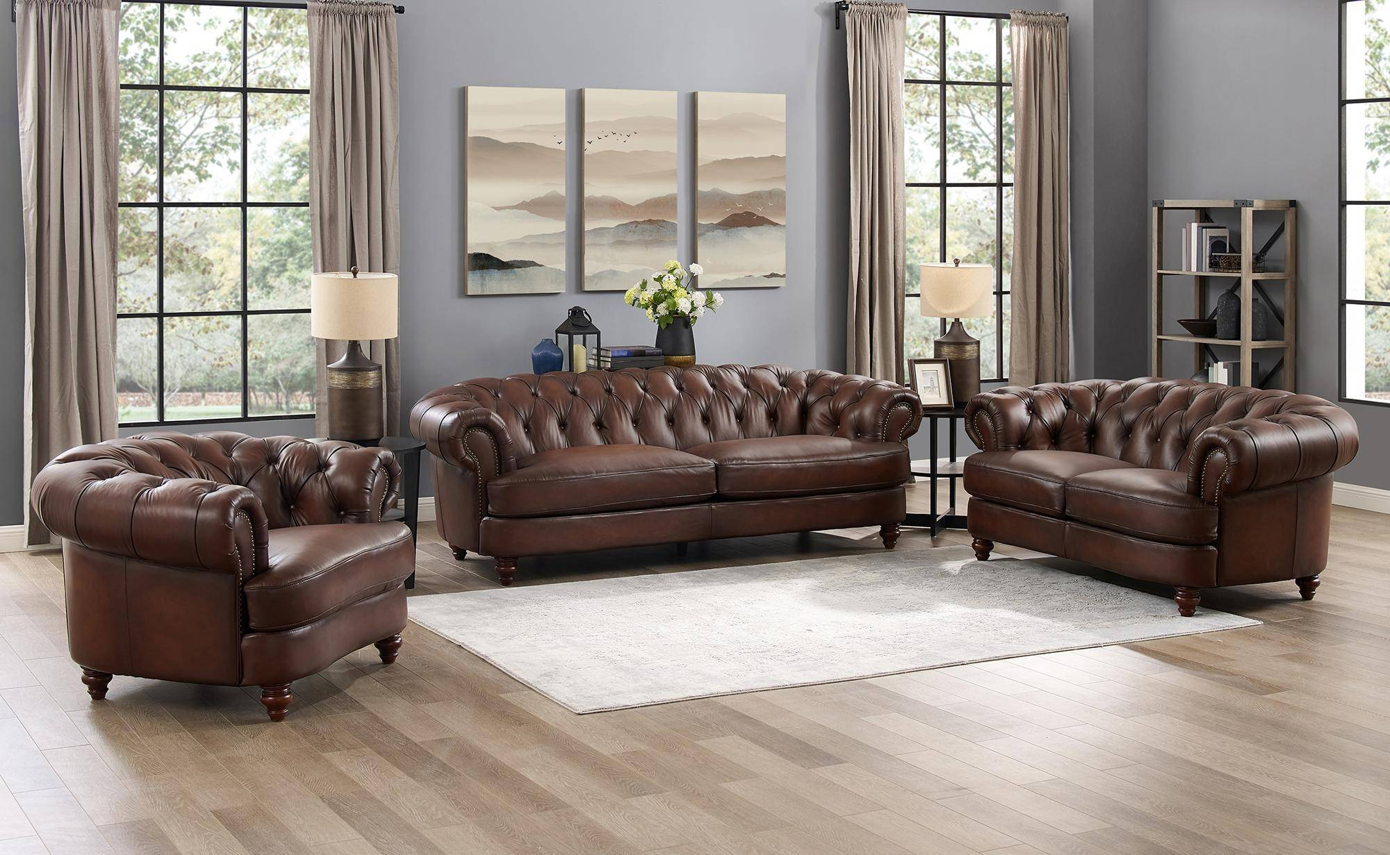 Luxury Dark Brown Melton Genuine Leather Sofa Hydeline