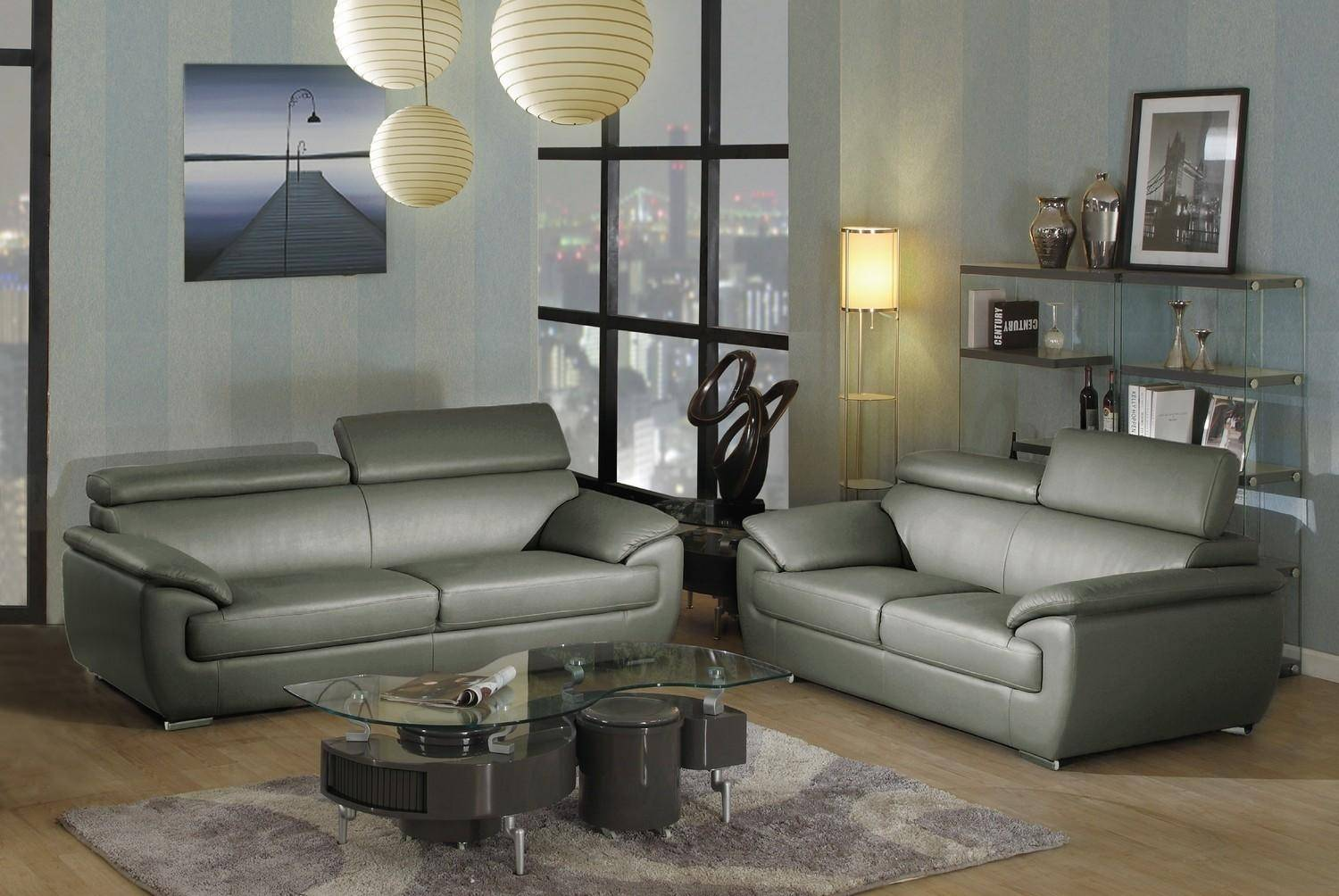 Super Contemporary Gray Leather Match Sofa Loveseat Set 2Pcs Andrewgaddart Wooden Chair Designs For Living Room Andrewgaddartcom