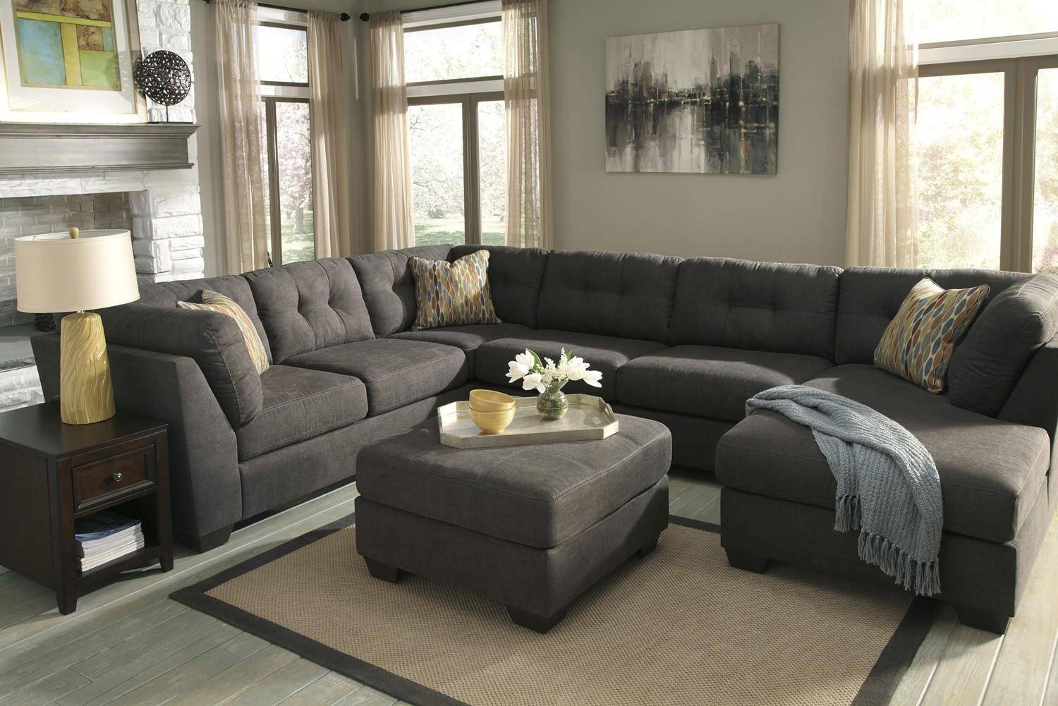 Ashley Delta City 4pcs Sectional In Steel Right Hand