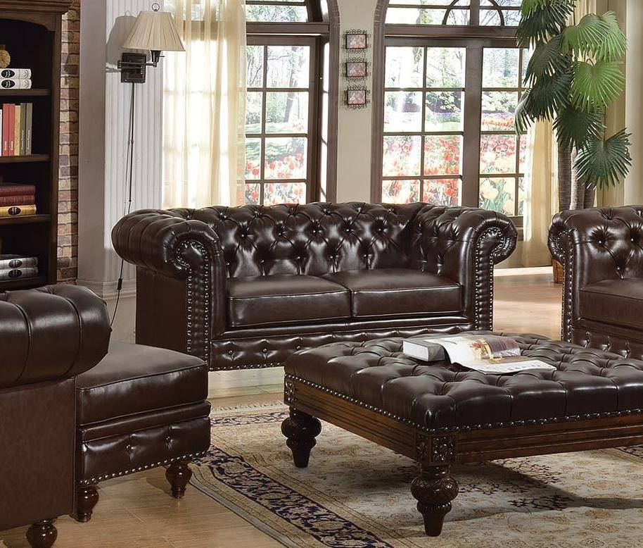 Excellent Acme 51315 Shantoria Dark Brown Bonded Leather Deep Tufted Ncnpc Chair Design For Home Ncnpcorg